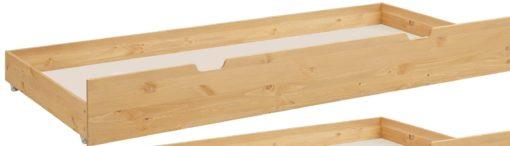 Sosnowa szuflada pod łózko, kółka, wgłębione uchwyty