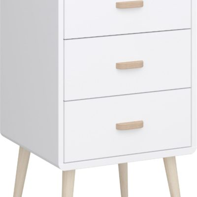 Komoda w stylu retro, 3 szuflady, biała, kontrastujące kolory