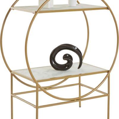 Złoty regał/ barek w okrągłym kształcie, metal i szklane półki