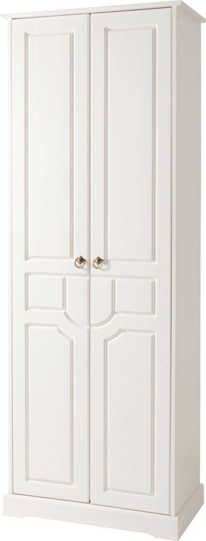 Dwudrzwiowa szafa z sosny z pięknie zdobionym frontem, biała