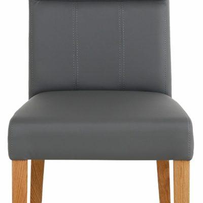 Wygodne krzesła ze sztucznej skóry, szare - 4 sztuki