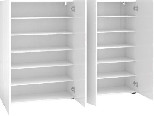 Czterodrzwiowa komoda biała lub szafka na buty, w połysku