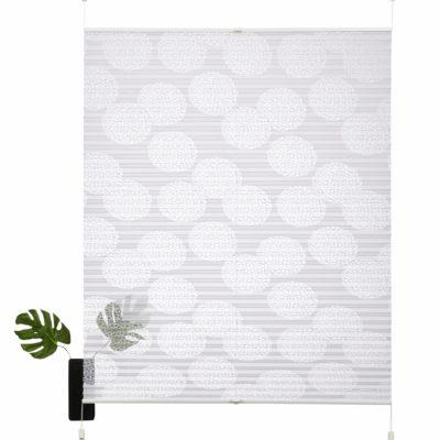 Biała roleta z motywem kręgów, bawełna 100x130 cm
