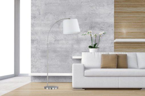 Lampa stojąca FISCHER & HONSEL z białym abażurem