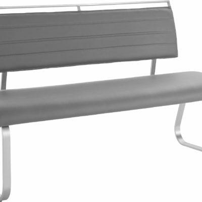 Nowoczesna ławka do jadalni , szara z ekoskóry