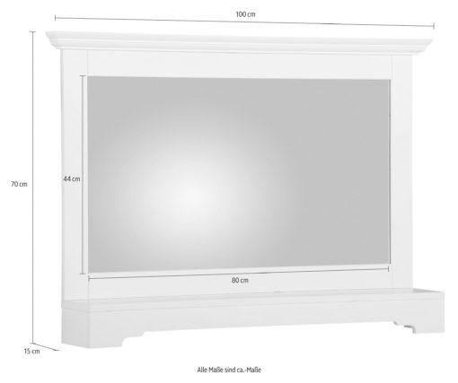Stylowe białe lustro z półką