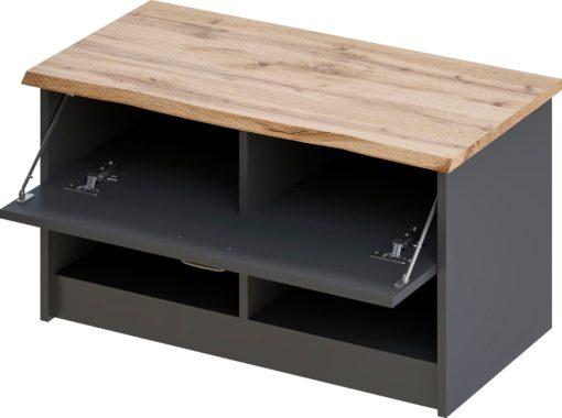 Czarna ławka z klapą, blat w kolorze drewna