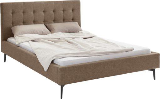 Szlachetne, tapicerowane łóżko, brązowe 140x200 cm