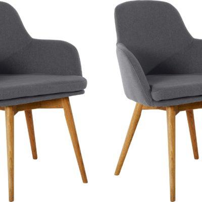 Szare krzesła z podłokietnikami na dębowych nogach - 2 sztuki
