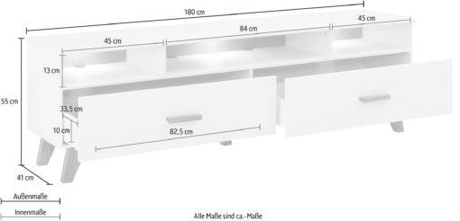Oryginalna sosnowa szafka rtv biała z wykończeniem dębowym