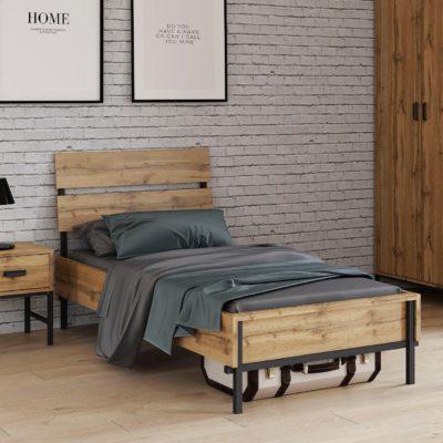 Innowacyjne łóżko 90x200 cm połączenie drewna i metalu