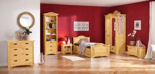 Sosnowe łózko z szufladami 90x200 cm, olejowane