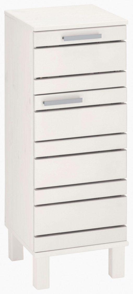 Stojąca szafka łazienkowa z drewna sosnowego, biała