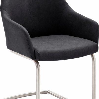 Eleganckie antracytowe krzesła, metalowy wspornik - 2 sztuki