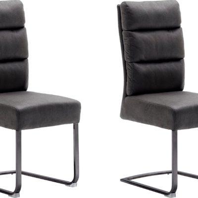 Krzesła z wkładem sprężynowym, na płozach - szare