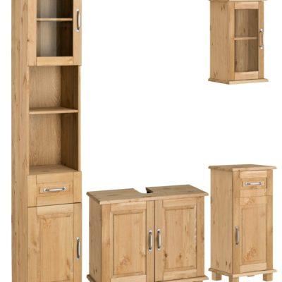 Zestaw szafek łazienkowych z sosny, olejowane z przeszkleniem