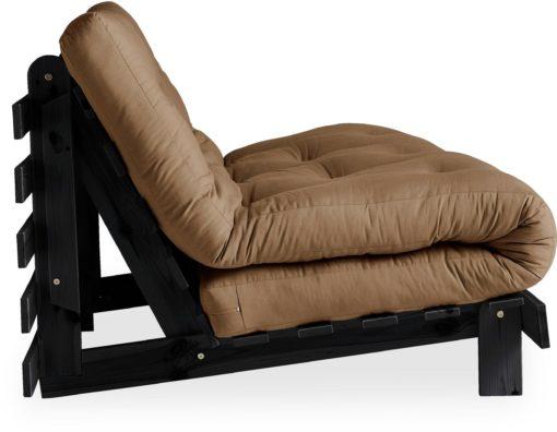 Nowoczesna kanapa z materacem futon 140 cm, mocca