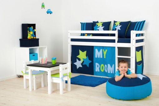 Łóżko dziecięce 70x160 cm z zasłonkami, materacem i stelażem