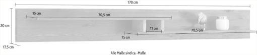 Sosnowa szara półka 170 cm, dwupoziomowa