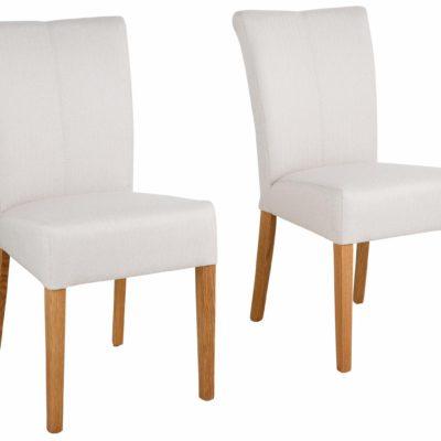 Klasyczne beżowe krzesła Queen na dębowej ramie - 4 sztuki