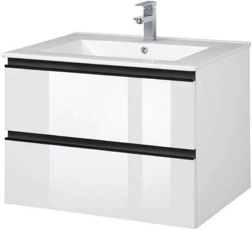 Wisząca szafka łazienkowa z ceramiczną umywalką, 80 cm