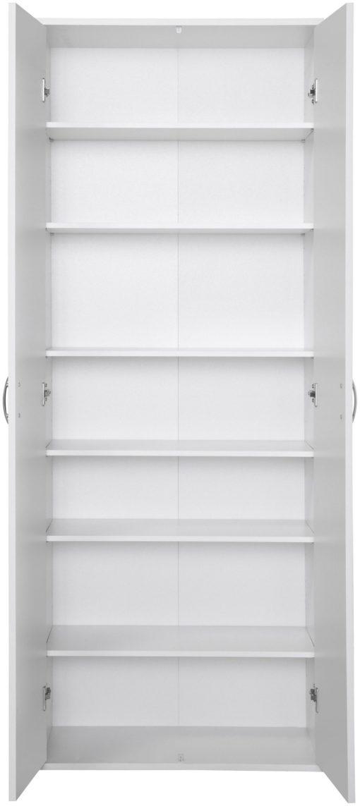 Wielofunkcyjna dwudrzwiowa szafa biała z półkami