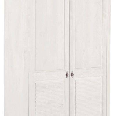 Dwudrzwiowa szafa sosnowa z półkami i frezowaniem, biała