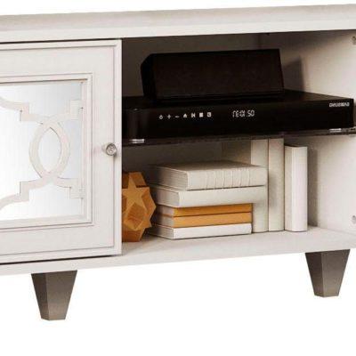 Szafka pod telewizor w orientalnym stylu, biała