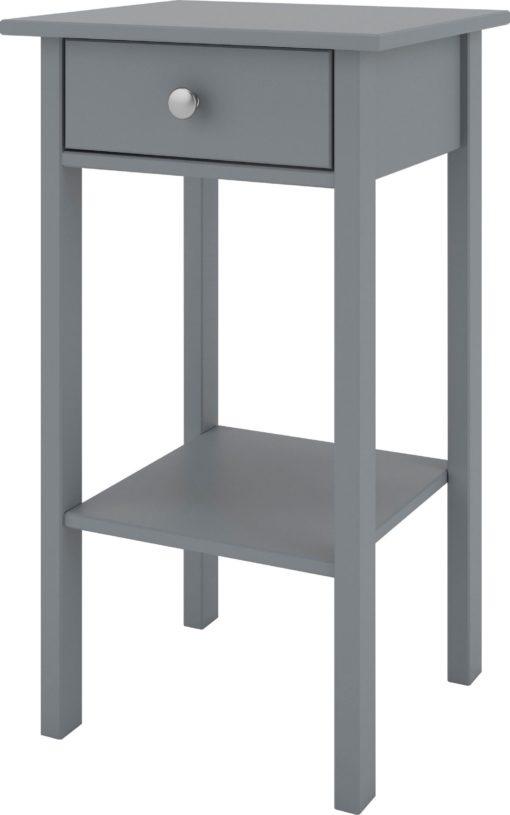 Szary stolik/ konsola z szufladką w skandynawskim stylu
