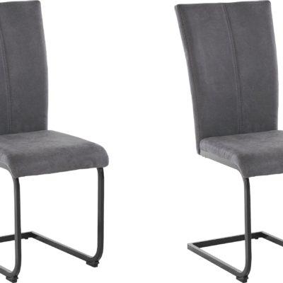 Nowoczesne szare krzesła na czarnych płozach - 2 sztuki