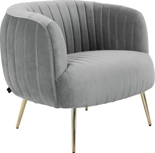 Luksusowy szary fotel na złotych nogach, glamour