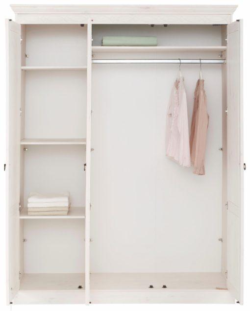 Piękna biała szafa trzydrzwiowa z lustrem, sosnowa