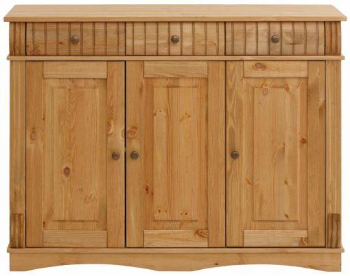 Sosnowy kredens olejowany, 3-drzwiowy, szerokość 119 cm