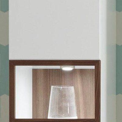 Wisząca biała witryna z wstawką szklaną, w kolorze orzecha