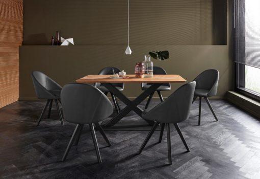 Czarne krzesła z prawdziwej skóry na dębowych nogach - 2 sztuki