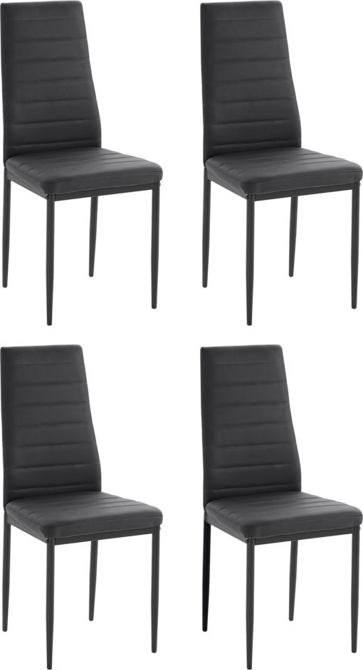 Zestaw do jadalni: cztery czarne krzesła, metalowe nogi