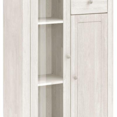 Sosnowa szafka typu highboard z przeszkleniem, biała