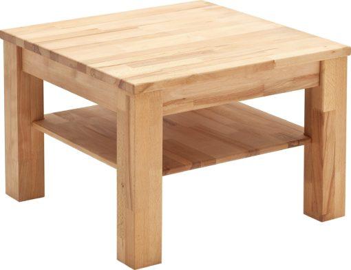 Atrakcyjny stolik z drewna bukowego, z półką