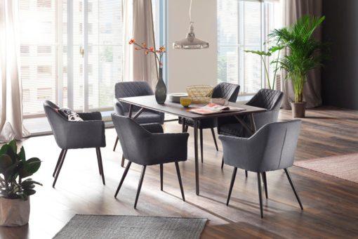 Dwa antracytowe fotele nowoczesne, z przeszyciami