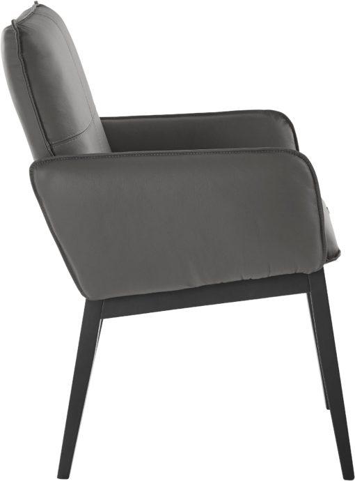 Dwa antracytowe fotele z prawdziwej skóry, nogi bukowe