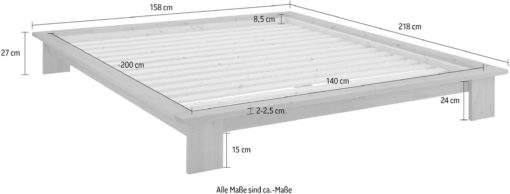Łóżko futon 140x200 cm z drewna sosnowego