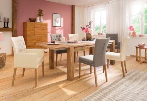 Eleganckie, beżowe krzesła tapicerowane, nogi dębowe - 6 sztuk