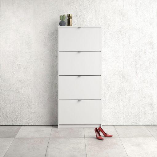 Prosta, wąska szafka na buty biała z 4-ma klapami