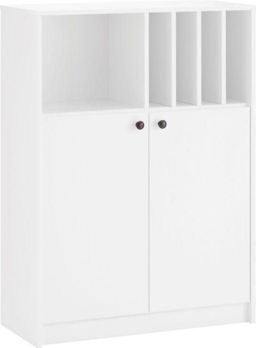Biała dwudrzwiowa komoda z miejscem na dokumenty