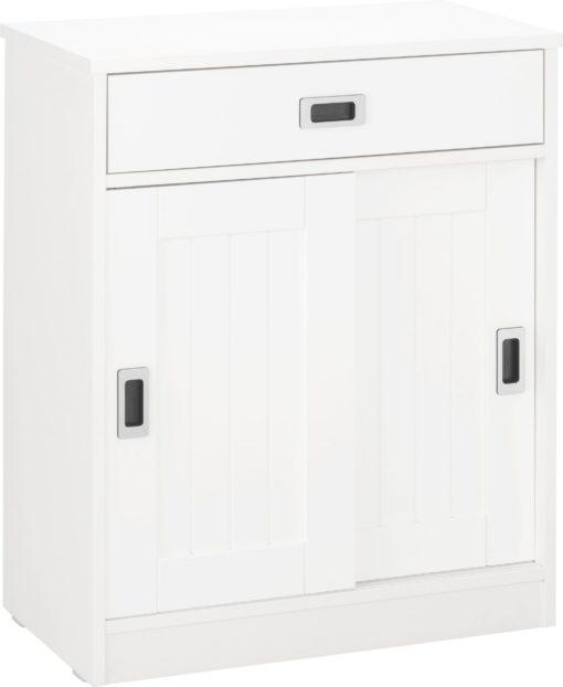 Nowoczesna biała komoda z przesuwnymi drzwiami