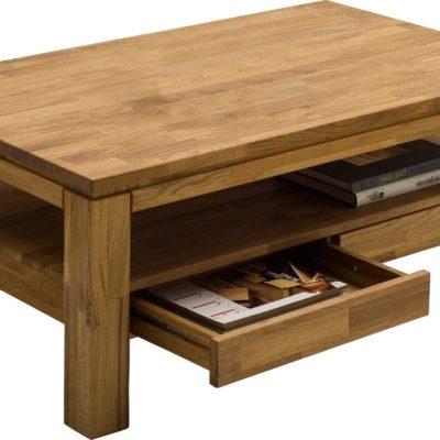 Dębowy stolik z półką i szufladami, styl skandynawski