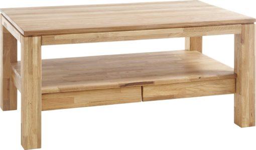 Dębowy stolik z szufladami i półką 115x70 cm