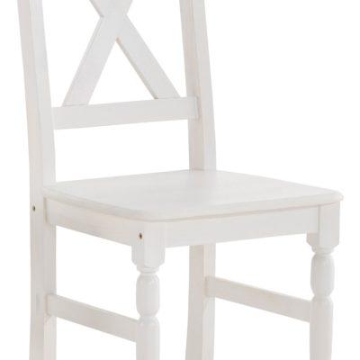 Zestaw czterech białych sosnowych krzeseł