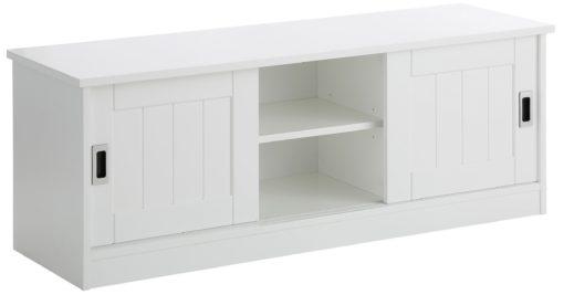 Piękna biała szafka na buty z przesuwnymi drzwiami