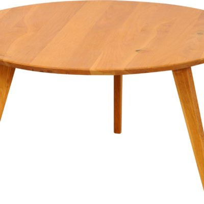 Dębowy okrągły stolik do salonu, trójnożny